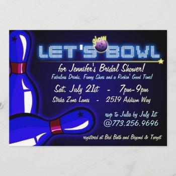 cosmic glow bowling bridal shower invitations