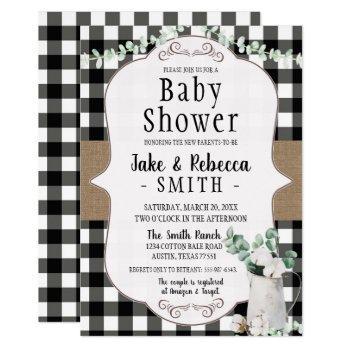 cotton farmhouse black white neutral baby shower invitation