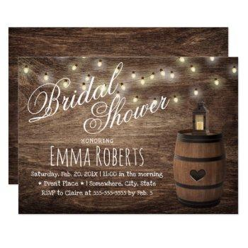 country lantern & wine barrel bridal shower invitation