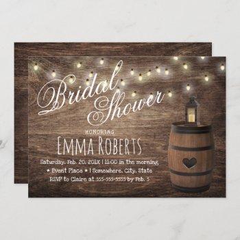 country lantern & wine barrel bridal shower invitation