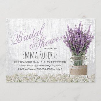 country lavender floral mason jar bridal shower invitation