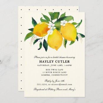 country lemon & flowers  shower invitation