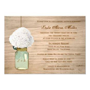 country rustic mason jar hydrangea bridal shower invitation