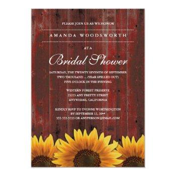country rustic sunflower bridal shower invitations