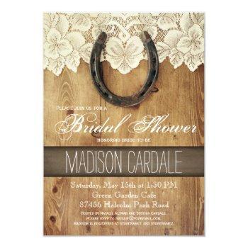 country western horseshoe lace bridal shower invitation