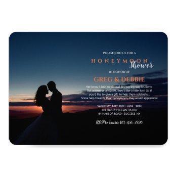 couple embracing honeymoon bridal shower invitation