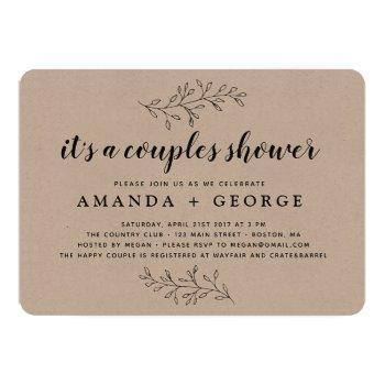 couple shower invitation rustic kraft card