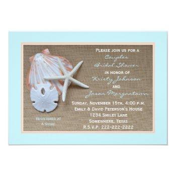 couples bridal shower invitation -- beach burlap