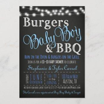 couples coed burger baby boy bbq shower invitation