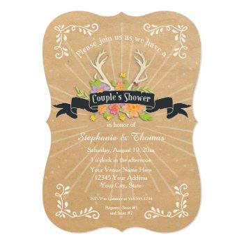 couples shower antler wildflower starburst rustic invitation