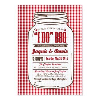 "couples shower bbq invitation in mason jar ""i do"""