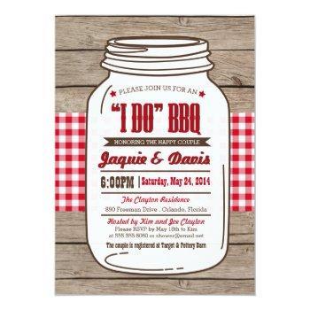 couples shower bbq invitation in mason jar on wood