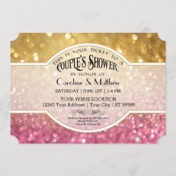 couples shower bokeh movie ticket style gold pink invitation