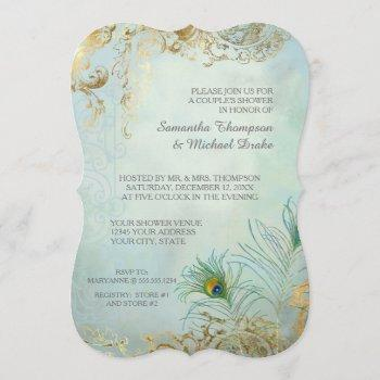 couples shower gold leaf peacock feathers elegant invitation