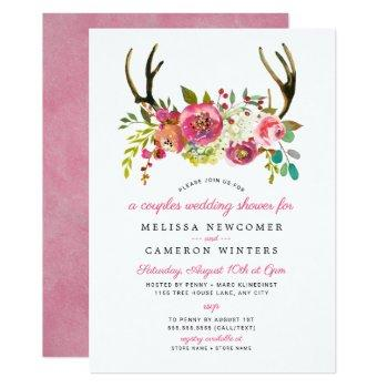 couples wedding shower, pink floral antlers invite