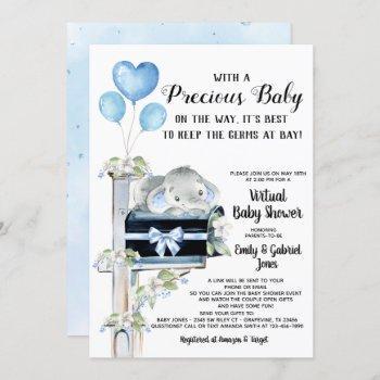 covid baby shower boy elephant invitation