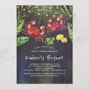 crab boil beach palm string lights bridal shower invitation