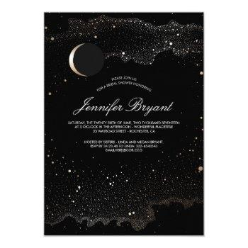crescent moon and night stars bridal shower invitation