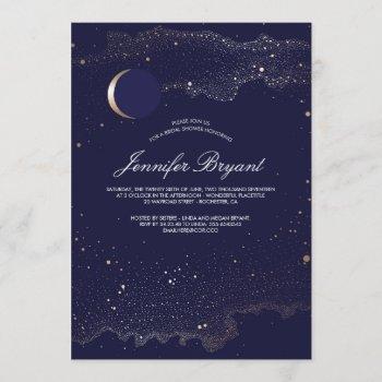 crescent moon and night stars navy bridal shower invitation