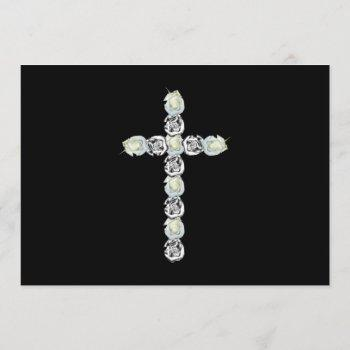 cross of silver and white roses invitation