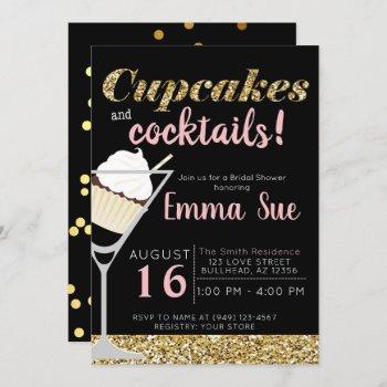 cupcakes & cocktails black & gold bridal shower invitation