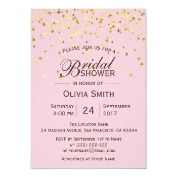 custom classy pink gold bridal shower invitations