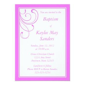 custom pink baptism invitation or other event