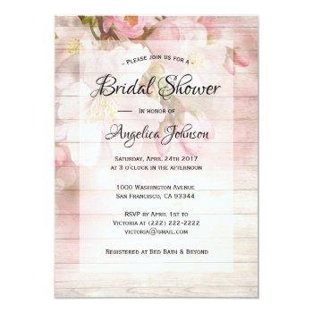 custom rustic cherry blossom floral bridal shower invitation