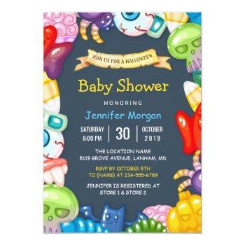 cute baby shower halloween monsters theme invitation