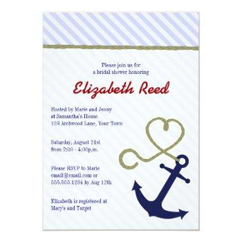cute blue nautical theme anchor bridal shower invitation