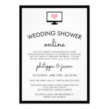 cute computer virtual couple's wedding shower invitation