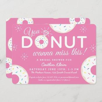cute donut bridal shower invitations | pink