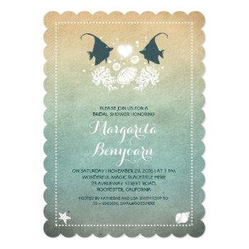 cute fish beach bridal shower invitations