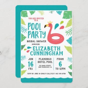 cute flamingo tropical  pool party bridal shower invitation