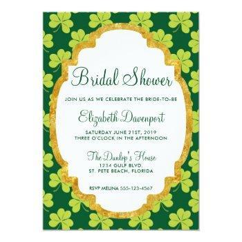 cute green clover shamrock pattern bridal shower invitation