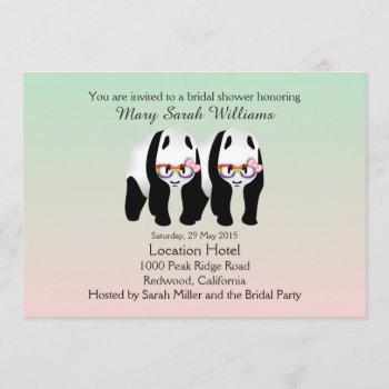 cute lesbian pandas bear bridal shower invitation