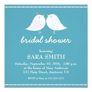 cute love birds teal bridal shower invite