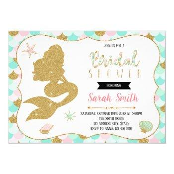 cute mermaid bridal shower party invitation