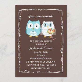 cute owls wedding shower for bride and groom invitation