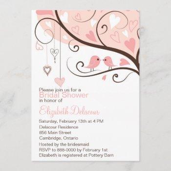 cute pink love birds bridal shower invitation