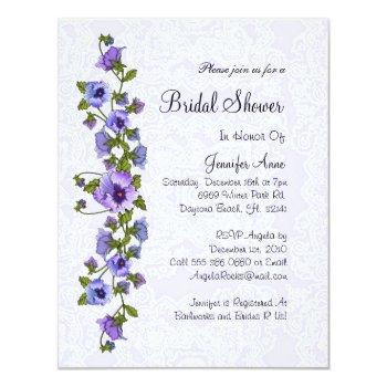 cute purple floral bridal shower invite