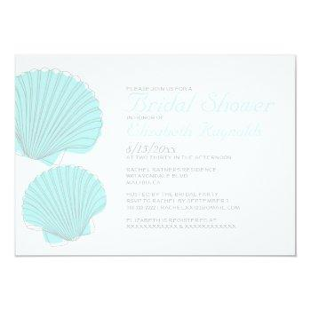 cute seashells destination bridal shower invite