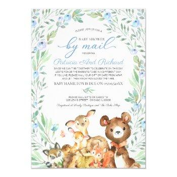 cute woodland animals greenery baby shower by mail invitation
