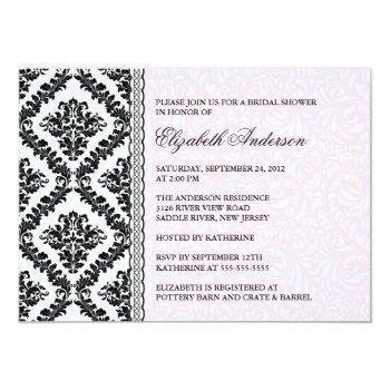 damask bridal shower invitation black & pink