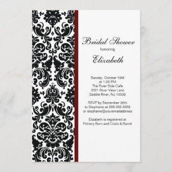 damask bridal shower invitation merlot red