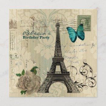 damask french eiffel tower parisian birthday party invitation