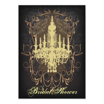 damask lime chandelier vintage bridal shower invitation