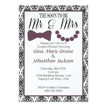 damask mr. and mrs. shower invitation (eggplant)