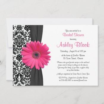 damask pink gerbera daisy recipe bridal shower invitation