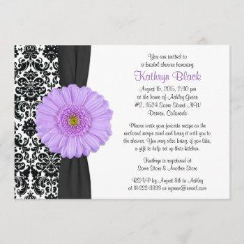 damask purple gerbera daisy recipe bridal shower invitation